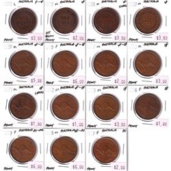 Australia Lot of 15x Penny dates from 1911-1959 Most VF to AU Condition.