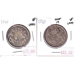 50-cent 1949 Hoof/9 in VF (scratched) and 1949 Regular in EF (tape residue).