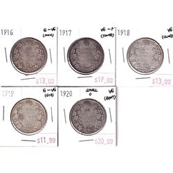 50-cent Lot: 1916, 1917, 1918, 1919, & 1920. All coins Good-6 to VG-10 with some minor issues. 5pcs