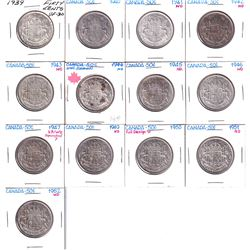 50-cent Lot: 1939 to 1952. You will receive x1 of each date, 1947 is ST.7 variety. All coins in aver