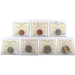 Group Lot of 7x Canadian ICCS Certified Coins all MS-63 & MS-64. 7pcs