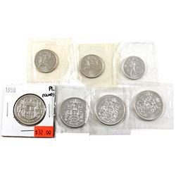 Group Lot 7x Proof Like Silver coins. Lot includes 1963, 1964, & 1965 25-cents, & 1958, 1963, 1965,