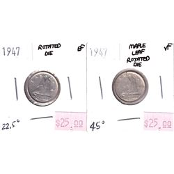 Error: 2x 1947 10-cent with Rotated Dies. 1947 in EF with an approximate 22.5 degree rotation and a