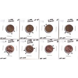 Error: 8x United States 1-cent with Clipped Planchets. Dates include: 1927, 1937, 1940, 1944, 2x 196