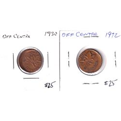 Error: Lot of 2x Canada 1-cent With Off Strikes, both coins approximately 20% off struck. Lot includ