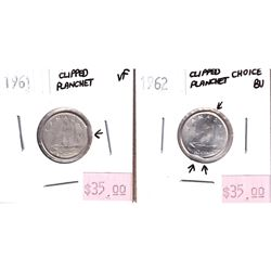 Error: 2x Canada Silver 10-cent with Clipped Planchets. Lot includes a 1961 in VF and a 1962 in Choi