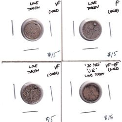 """Lot of 4x Canadian Silver 5-cent 'Love Tokens"""" 3x Victorian and 1x George 5th. All have been holed f"""