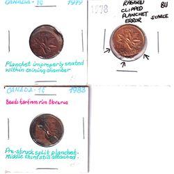 Error: Lot of 3 Dramatic Canadian 1-cent Errors. Worth a premium Bid! 3pcs