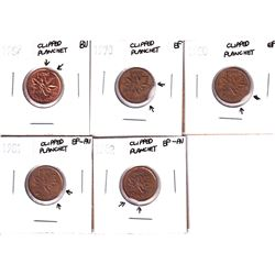 Error: Lot of 5 Canadian 1-cent with clipped planchets, Lot includes 1969, 1970, 1980, 1981, & 1982.
