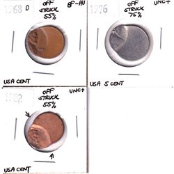 Error: Lot of 3x United States off struck coins 50-75% off strikes! Lot includes a 1968D 1-cent, 198