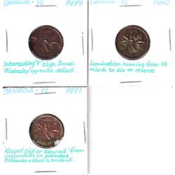 Error: Lot of 3x Canadian 1-cent coins with interesting Planchet flaws. 3pcs