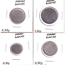 Error: Lot of 4x Foreign Blank Planchets, all struck in Cupro-Nickel (non-magnetic) 4pcs