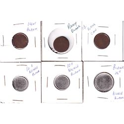 Error: Lot of 6x Blank Canadian Planchets. Lot includes 3x 1-cent, 2x 10-cent Nickel, & 1x 25-cent N