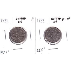 Error: Lot of 2x George 5th 5-cent Die rotations. Lot includes a 1931 in F-12 and a 1933 in F-15. 2p