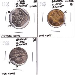 Error: Lot of 3x Bahama's Clipped Planchets. Lot includes a 1966 1-cent, 1966 Scallop Edge 10-cent,