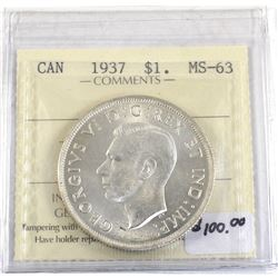 Silver $1 1937 ICCS Certified MS-63. Attractive Bright white coin.