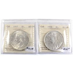Group Lot 2x Silver $1: 1936 AU-50 & 1937 AU-58, both coins ICCS Certified. 2pcs
