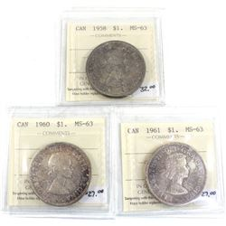 Group Lot 3x Silver $1: 1958, 1960, & 1961 All coins ICCS Certified MS-63. 3pcs