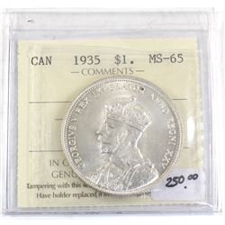 Silver $1 1935 ICCS Certified MS-65. Bright Lustrous coin!