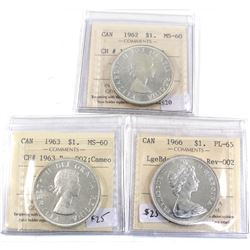 Group Lot 3x Charlton Variety REV-002 Silver $1, 1962 MS-60, 1963 MS-60 Cameo & 1966 Lge Bds PL-65.