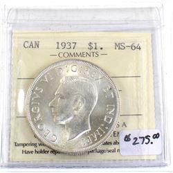 Silver $1 1937 ICCS Certified MS-64 Blast White! Great eye Appeal!