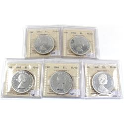 Group Lot 5x Silver $1: 1961, 1962, 1963, 1964, & 1966 All coins ICCS Certified PL-64! 5pcs