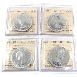 Group Lot 4x Silver $1: 1962 PL-64 Cameo, 1963 PL-6, 1964 PL-64 HC, & 1967 PL-65. All coins ICCS Cer