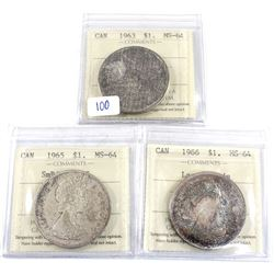 Group Lot 3x Silver $1: 1963, 1965 SmBds Ptd.5, 1966 LgBds.All coins ICCS Certified MS-64 (toned). 3