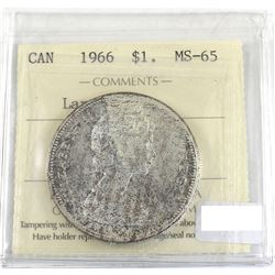 Silver $1 1966 Large Beads ICCS Certified MS-65! Lightly toned with lots of underlying luster.