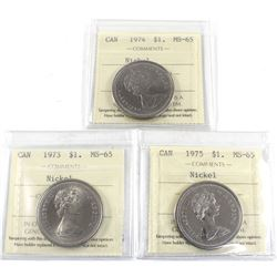 Group Lot 3x Nickel $1: 1973, 1974 & 1975, All coins ICCS Certified MS-65! 3pcs