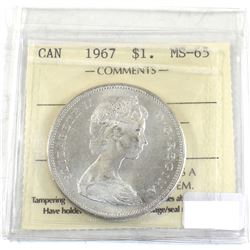 Silver $1 1967 ICCS Certified MS-65! Attractive coin with very light toning throughout.