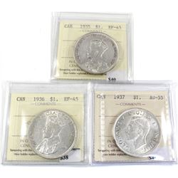 Group Lot 3x Silver $1: 1935 EF-45, 1936 EF-45 & 1937 AU-55 All coins ICCS Certified!. First 3 years
