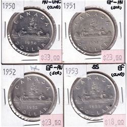 Group Lot 4x Silver $1: 1950, 1951, 1952, 1953 SF All coins EF or better, some coins lightly cleaned
