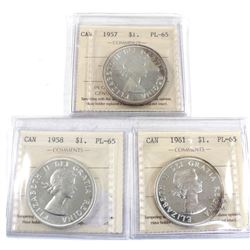 Group Lot 3x Silver $1: 1957, 1958 Cameo, & 1961 Cameo All coins ICCS Certified PL-65. 3pcs
