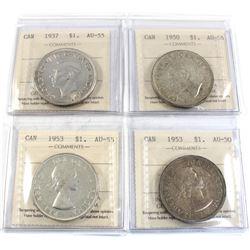 Group Lot 4x Silver $1: 1937 AU-55, 1950 AU-55, 1953 SF AU-50, 1953 NSF AU-55. All coins ICCS Certif