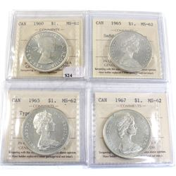 Group Lot 4x Silver $1: 1960, 1965 T2 Cameo, 1965 T5 Cameo, & 1967. All coins ICCS Certified MS-62.