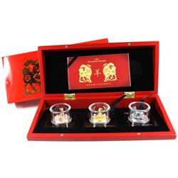 2015 Rwanda 500 Francs Year of the Goat Three Dimensional 3-coin Fine Silver set (Tax Exempt). This