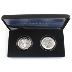 2018 Great Britain Britannia 1oz .999 Fine 2-Coin Silver Proof and Reverse proof Set (Tax Exempt)