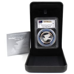 2014 P $1 Australia 1oz Silver Wedge-Tailed Eagle High Relief PCGS Cert. Gem Proof (toned)