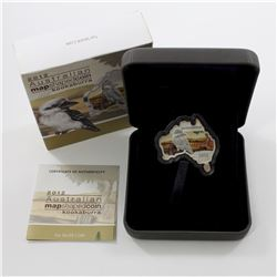 2012 Australia $1 Map Shaped - Kookaburra - Fine Silver Proof Coin (Tax Exempt). Outer box is worn a