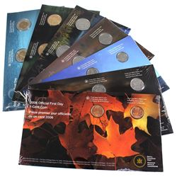 Lot of 7 x 2005 Canada Official First Day Issue Coins. You will receive a full decimal set of 1-cent