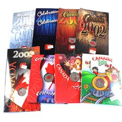 Group Lot 8x Royal Canadian Mint colorized Canada Day Commemorative 25-cent in original holder. Lot