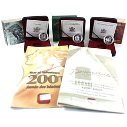 Group Lot 5x Royal Canadian Mint Silver Proof Commemorative 5-cent & 10-cent coins in original displ