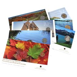 Set of 7x 2005 Official First Day Coins in sealed Royal Canadian Mint Sleeves. Set includes: 1c, 5c,