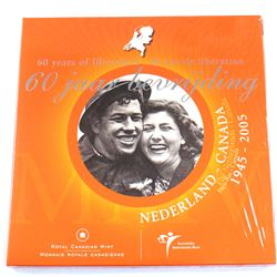 2005 Canada Netherlands Liberation Sterling Silver 25ct & BU Euro Set.