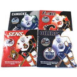 4x 2010 Canada NHL colourized 50-cent in original Mint Packaging. Lot includes Vancouver Canucks, Ca