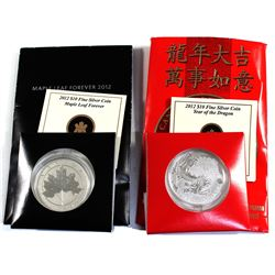 2x $10 Royal Canadian Mint Fine Silver Coins. Lot includes 2012 Maple Leaf Forever, & 2012 Dragon. 2
