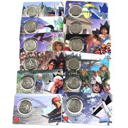 "Complete set of 12x Millennium Commemorative 25-cent in ""Credit Card"" Displays. 12pcs"