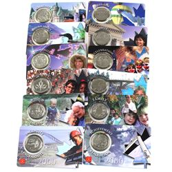 "Complete set of 12x Millennium Commemorative 25-cent in ""Credit Card"" Displays. 12pcs"