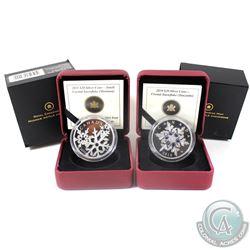 2010 & 2011 Canada $20 Crystal Snowflake Fine Silver Coins - 2010 Tanzanite & 2011 Montana. 2pcs (TA
